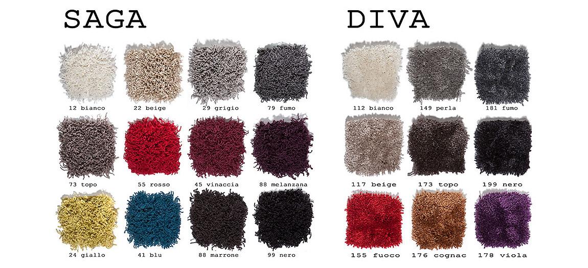 Tappeti su misura - Saga - Diva - Tabella colore - AERREe