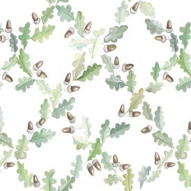 Carta da parati Foglie Ghiande 5900026 Pirenaica Bianco - Anima Coordonne - AERREe