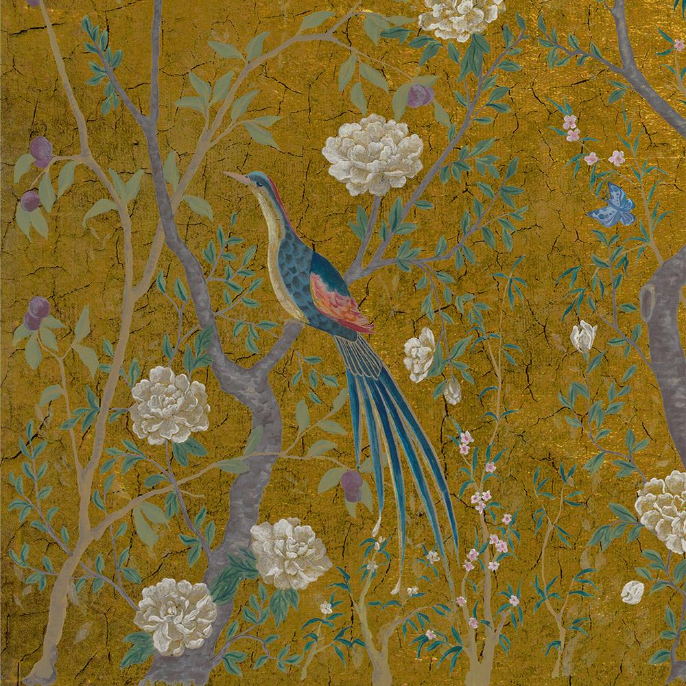 Carta da parati con pavone Coordonne Edo Core Gold 6600091 dettagli uccelli AERREe