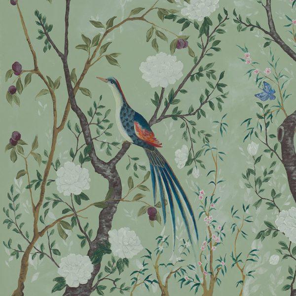 Carta da parati con pavone Coordonne Edo Core Mint 6600090 dettaglio uccello AERREe