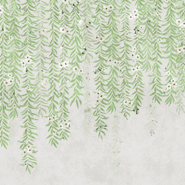 Carta da parati con salice Coordonne Cora Spring 6600089 dettaglio foglie AERREe