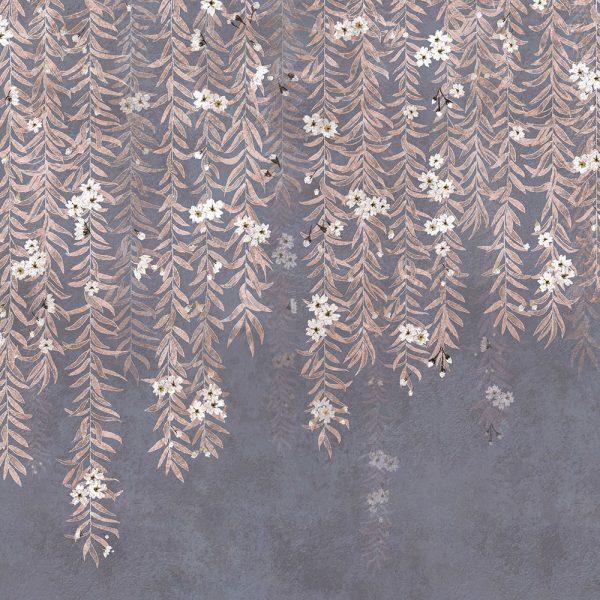 Carta da parati con salice Coordonne Cora Winter 6600088 dettaglio foglie AERREe