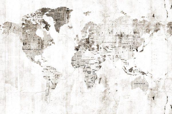 Carta da parati mappamondo Coordonne Newspaper map 6500106 AERREe