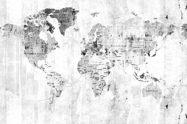 Carta da parati mappamondo Coordonne Newspaper map 6500107 AERREe