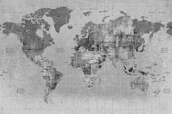 Carta da parati mappamondo Coordonne Newspaper map 6500108 AERREe