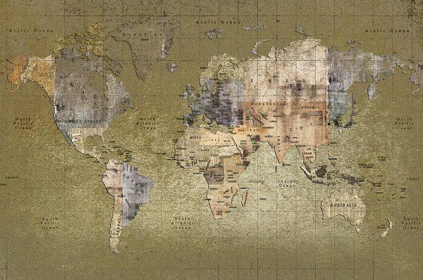Carta da parati mappamondo Coordonne Newspaper map 6500109 AERREe