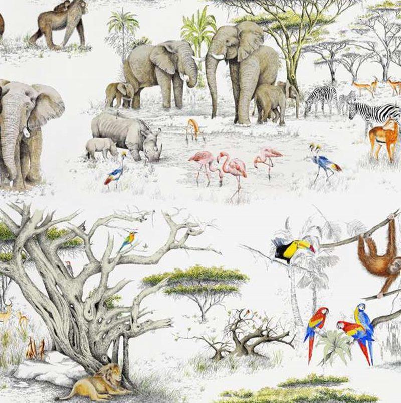 Carta-da-parati-etnica-Pierre-Frey-Les-Dessins-2-Masai-Mara-dettaglio-AERREe