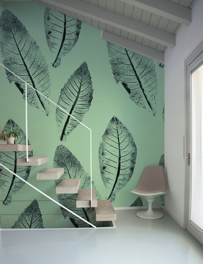 Carta da parati foglie e piante Limonta Pix-Art Nespola Flora e Fauna dettaglio AERREe