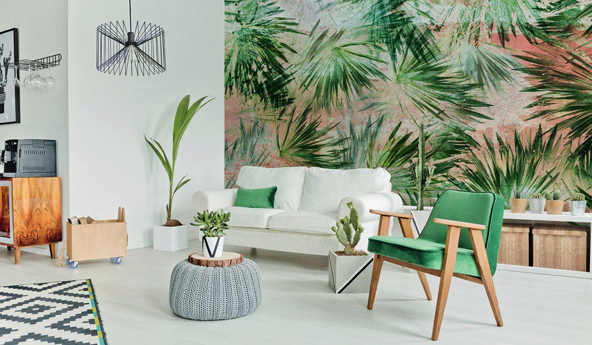 Carta da parati foglie e piante Limonta Pix-Art Palm beach Flora e Fauna AERREe