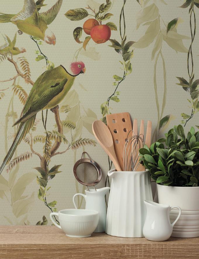 Carta da parati foglie e piante Limonta Pix-Art Secret garden Flora e Fauna AERREe