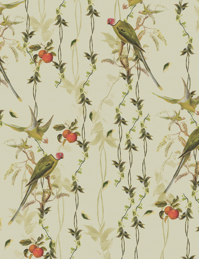 Carta da parati foglie e piante Limonta Pix-Art Secret garden Flora e Fauna dettaglio AERREe.jpg