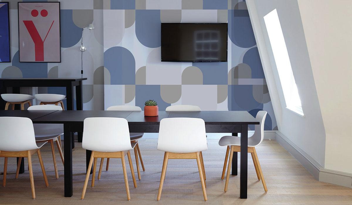 Carta da parati geometrie Limonta Pix-Art geometrie Bonbon ambientazione AERREe