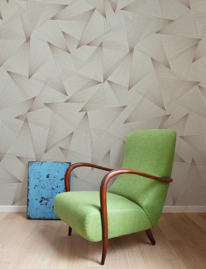 Carta da parati geometrie Limonta Pix-Art geometrie Fan Fan ambientazione AERREe