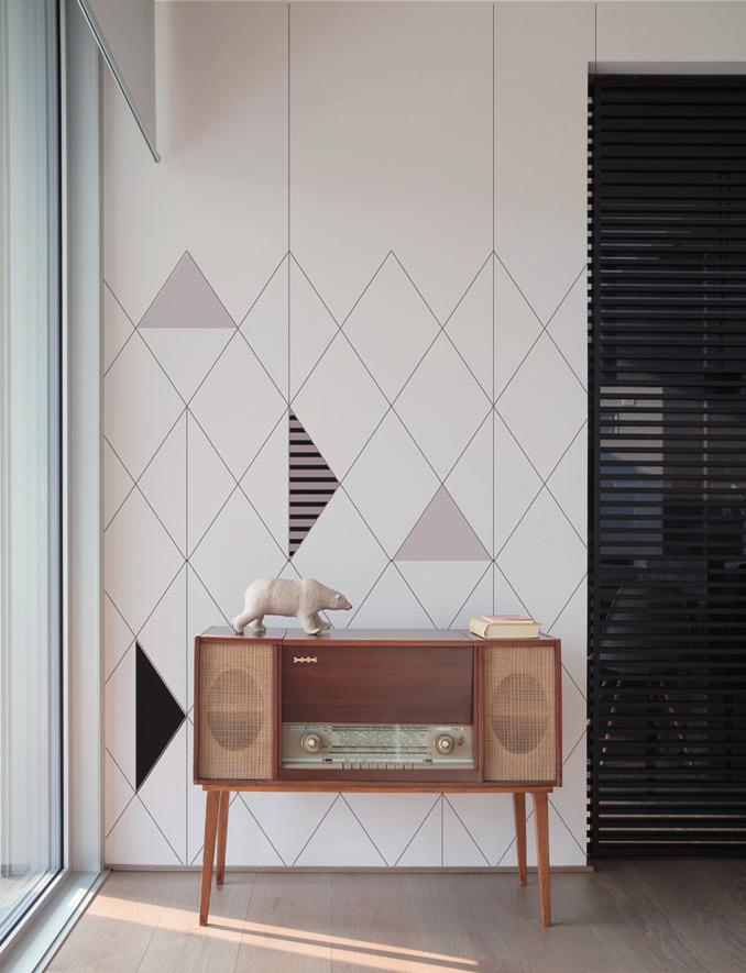 Carta da parati geometrie Limonta Pix-Art geometrie Widsock ambientazione AERREe