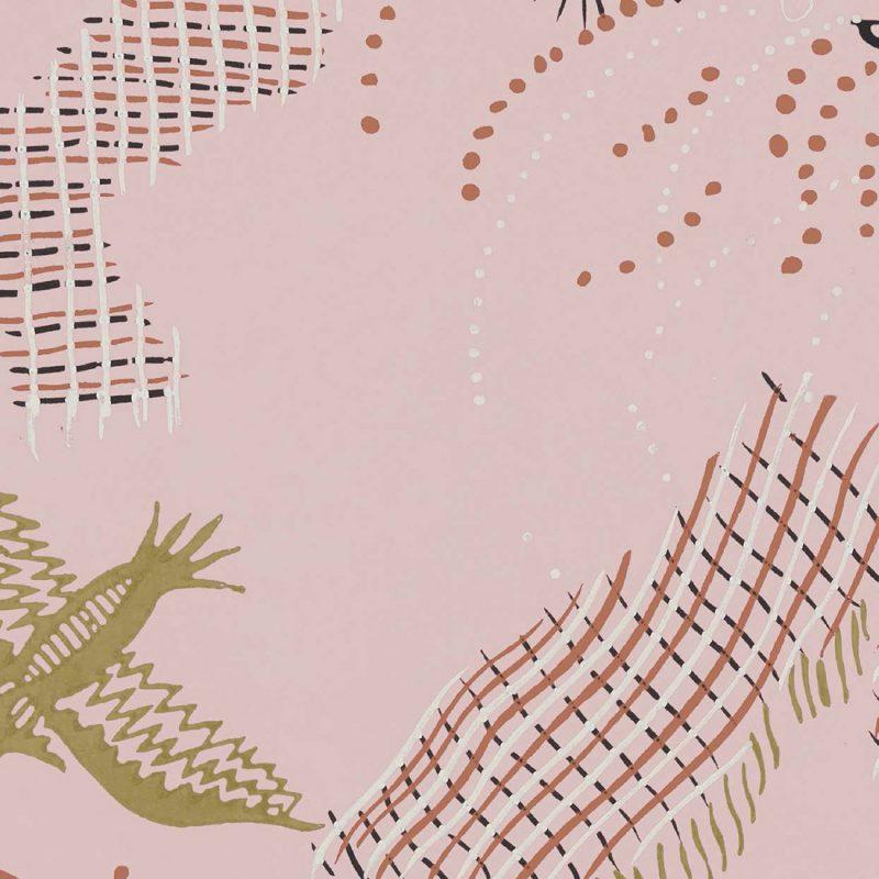 Carta da parati vintage Pierre Frey Les Dessins 2 Champagne FP426001 dettaglio 2 AERREe