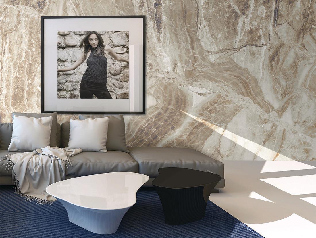 Carta da parati effetto materia Limonta Pix-Art Materia Marble beige ambientazione AERREe