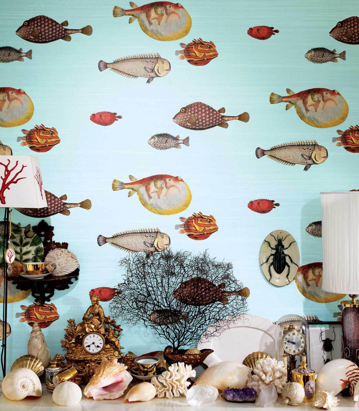 Carta da parati Fornasetti Acquario 97-10030 ambientazione AERREe