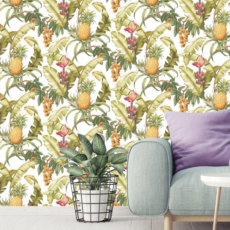 Carta da parati ananas Wallquest Pineapple Floral Maui Maui TP80005 dettaglio AERREe