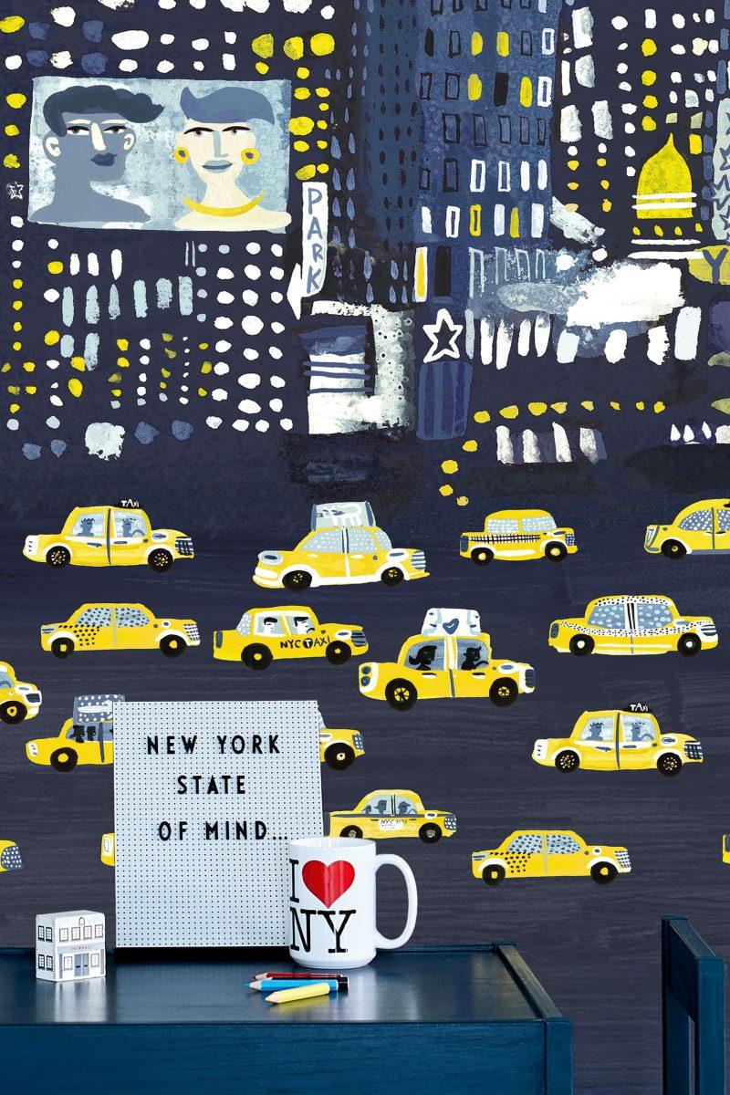 Carta da parati bambini citta Villanova New York City W57301 ambientazione 2 AERREe