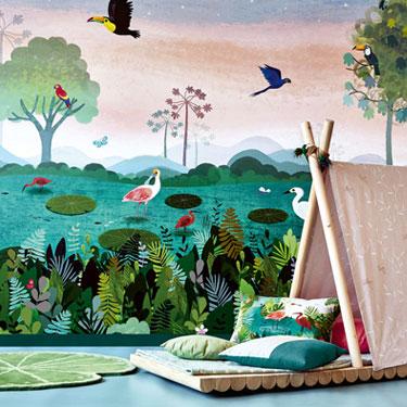 Carta da parati bambino Villanova Picturebook Dusky Amazon W5740 AERREe