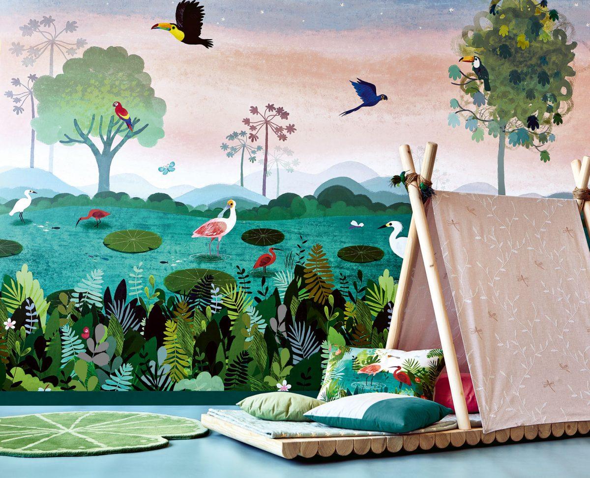 Carta da parati per bambini giungla Villanova Dusky Amazon W57401 ambientazione 2 AERREe