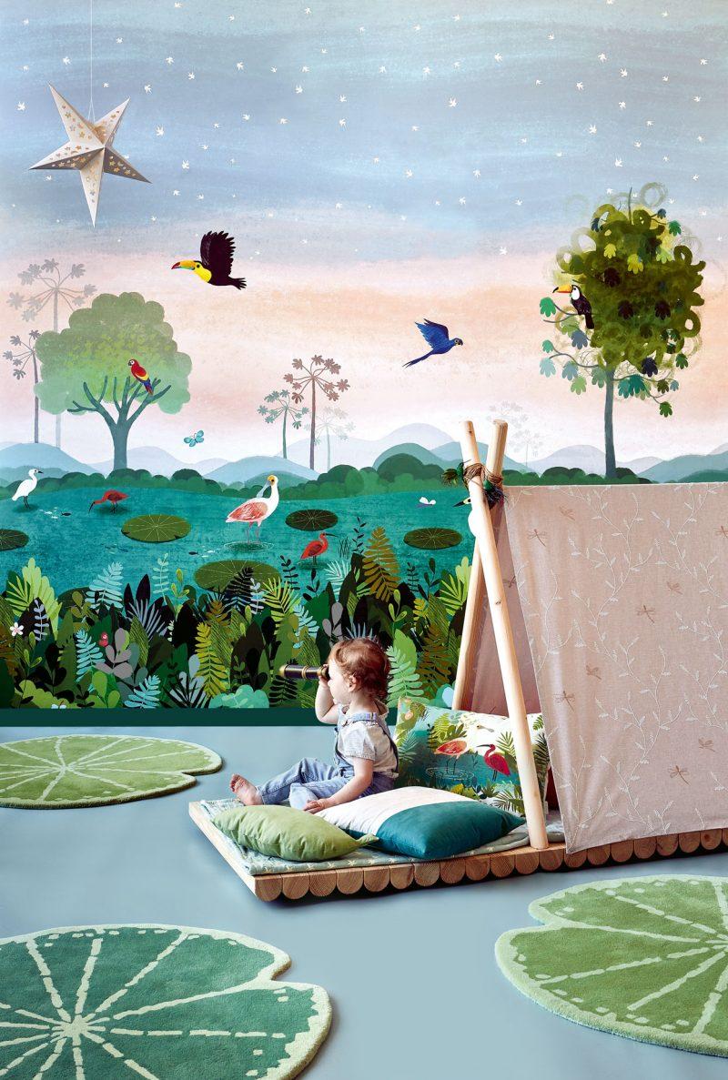 Carta da parati per bambini giungla Villanova Dusky Amazon W57401 ambientazione AERREe