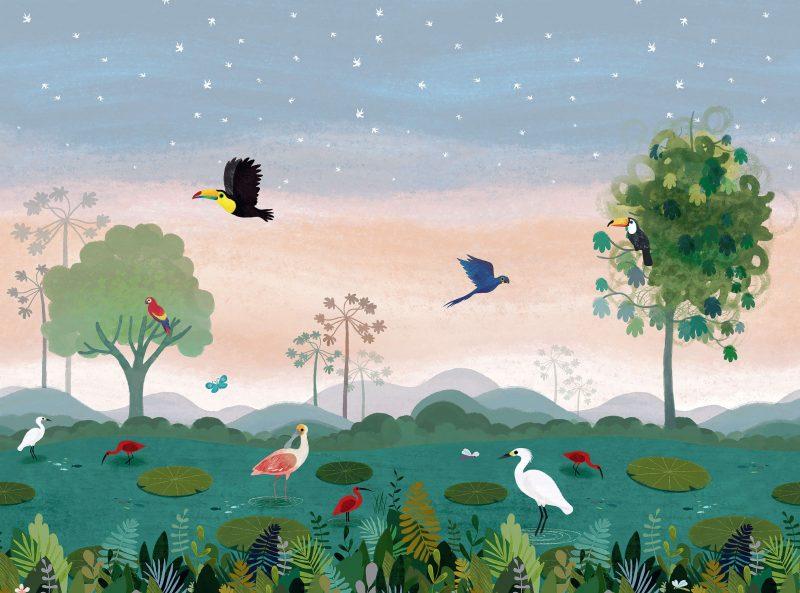 Carta da parati per bambini giungla Villanova Dusky Amazon W57401 dettaglio AERREe
